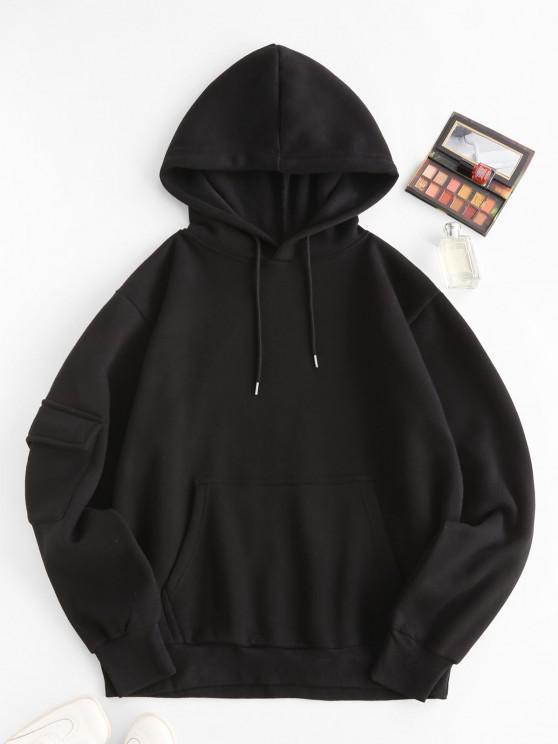 ladies Fleece Lined Pocket Detail Oversized Hoodie - BLACK S