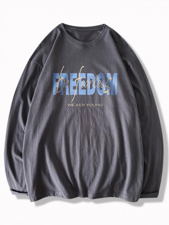 Freedom And Be Fearless Print Long Sleeve T-shirt - الرمادي الداكن M