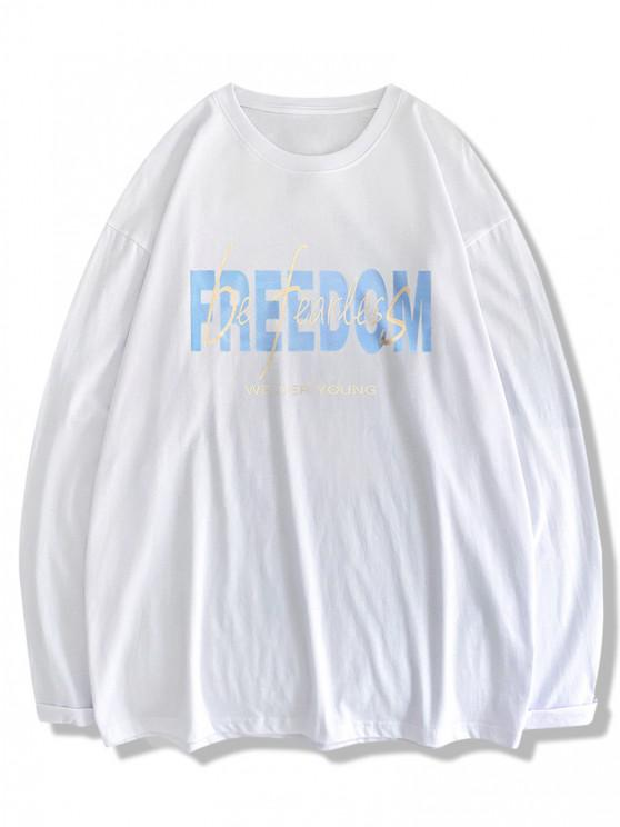outfit Freedom And Be Fearless Print Long Sleeve T-shirt - WHITE XL