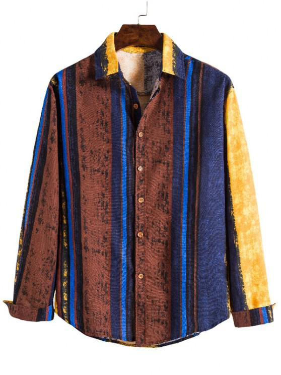 women's Vertical Striped Ethnic Long Sleeve Shirt - MULTI M