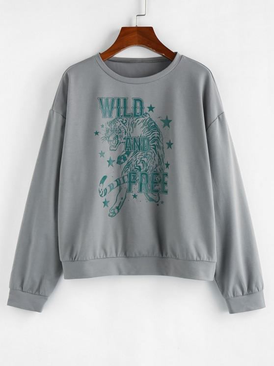 ZAFUL Drop Shoulder Tiger and Letter Graphic Sweatshirt - غائم غراي L
