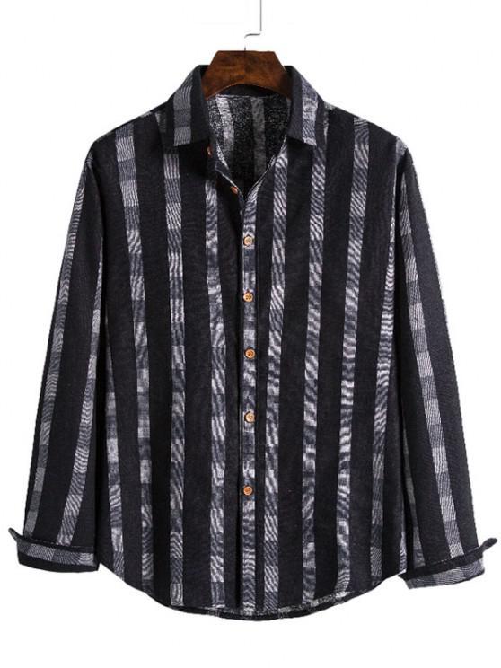 sale Checked Stripe Print Button Up Leisure Shirt - BLACK M