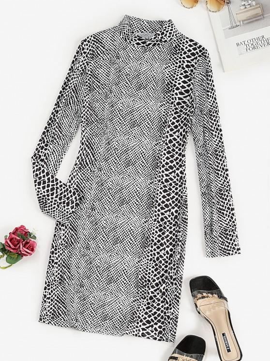 fashion Mock Neck Spot Print Bodycon Dress - BLACK M