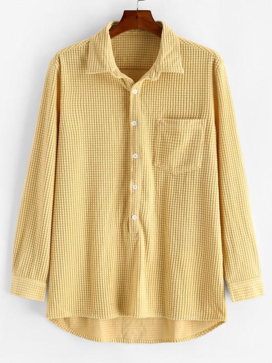 ladies Solid Textured Long Sleeve Pocket Shirt - LIGHT YELLOW L