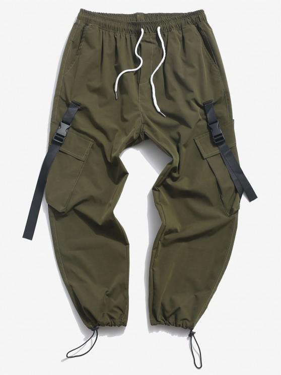 Buckle Strap Flap Pocket Cargo Pants - ديب غرين XL