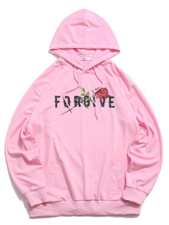 ZAFUL Forgive Rose Pattern Hoodie - وردي فاتح S