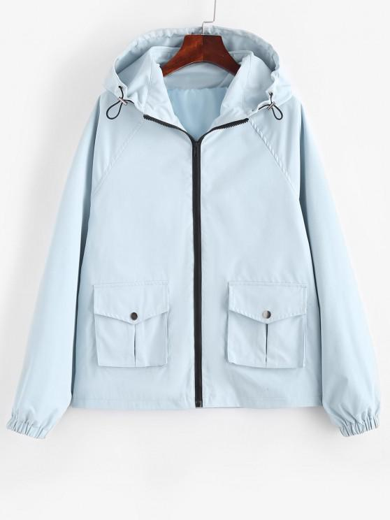 outfits Hooded Zip Up Raglan Sleeve Cargo Jacket - LIGHT BLUE M
