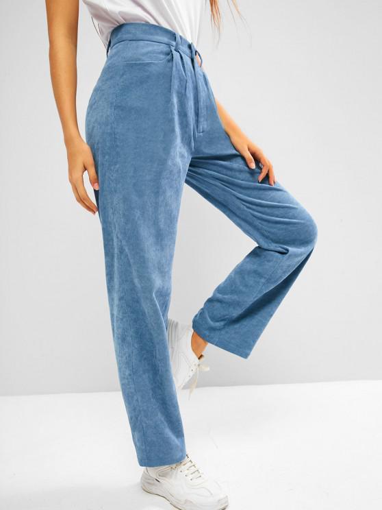 ZAFUL Pantalon Droit à Taille Haute en Velours Côtelé avec Poche - Bleu-gris S