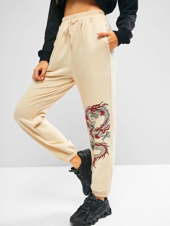ZAFUL Pantalones Deportivos con Cordón con Estampado de Dragón - café luz S