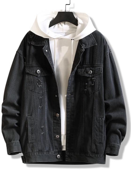 Jaqueta de Jean com Estampa de Letras de Ombro Caído - Preto 4XL