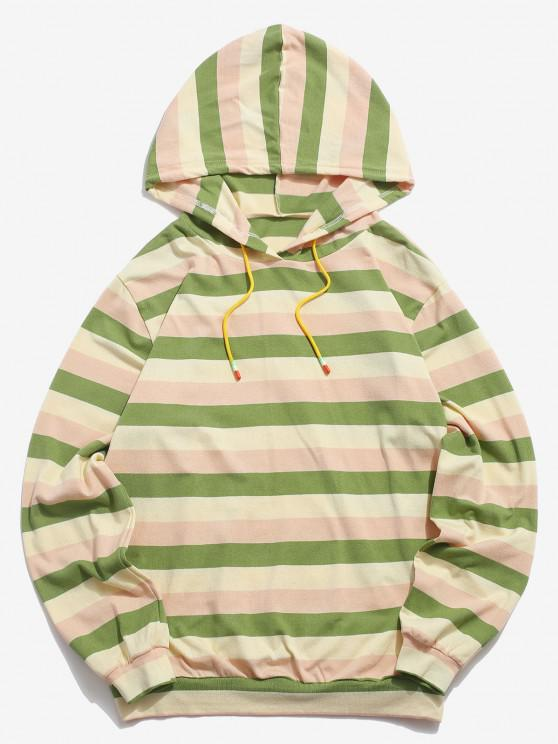 best Colorblock Stripes Knitted Hoodie - LIGHT GREEN XL