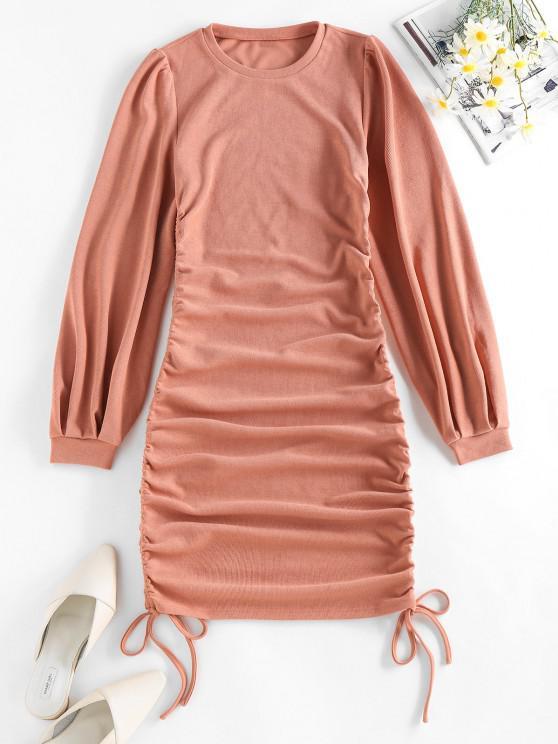 fancy ZAFUL Cinched Side Ribbed Mini Bodycon Dress - DEEP PEACH M