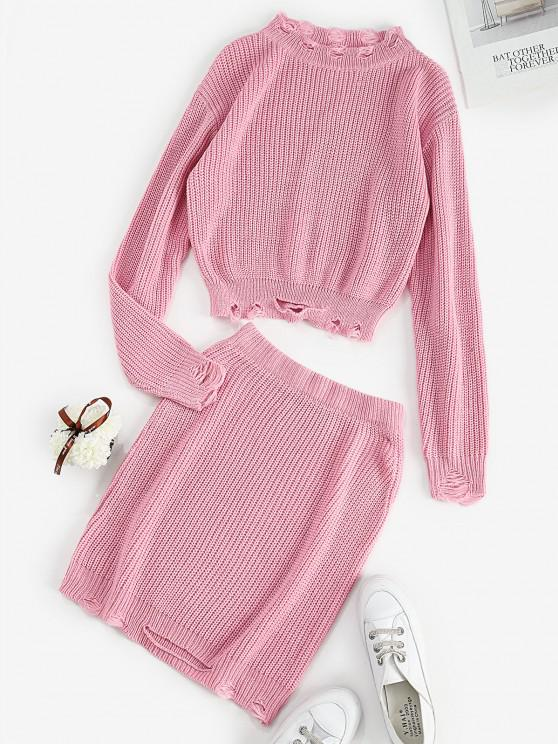 Ripped Knitted Crew Neck Two Piece Dress - وردي فاتح حجم واحد