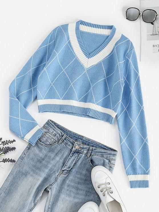 online Geometric Jacquard Cropped Sweater - LIGHT BLUE ONE SIZE