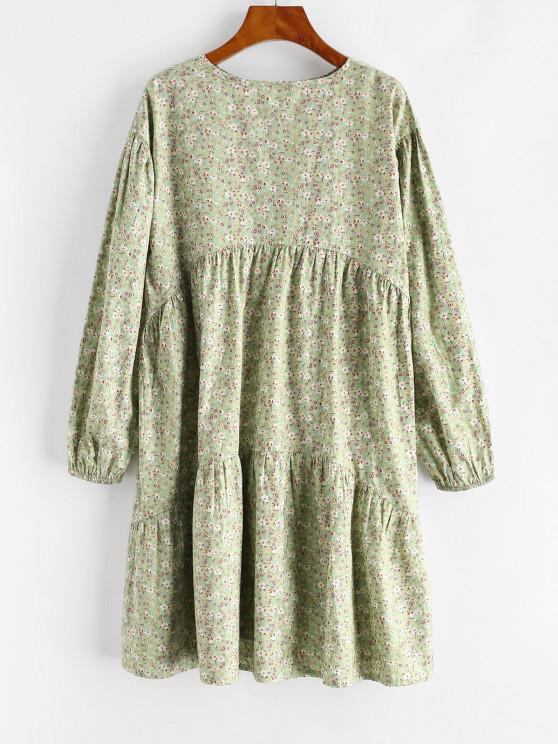 shops Ditsy Floral Long Sleeve Straight Tunic Dress - LIGHT GREEN S