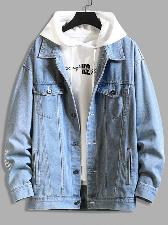 Letter Text Dual Pockets Drop Shoulder Denim Jacket - الحرير الأزرق 3XL