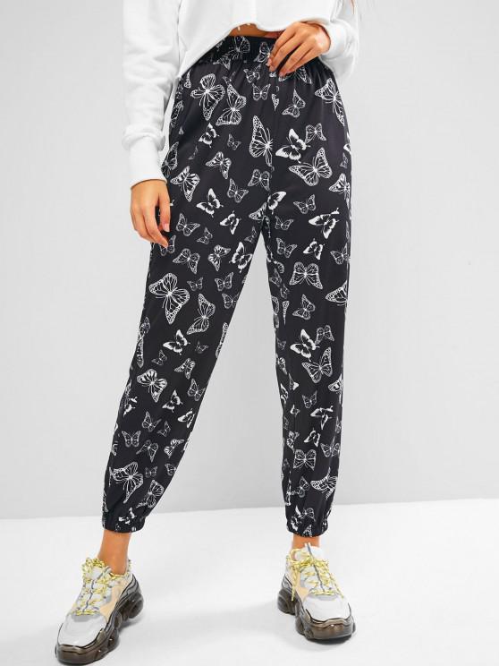 women ZAFUL High Rise Butterfly Print Jogger Pants - BLACK XL