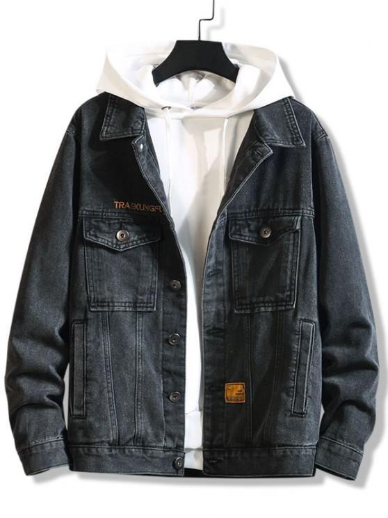 ladies Letter Emboridery Dual Pockets Casual Jean jacket - BLACK 3XL