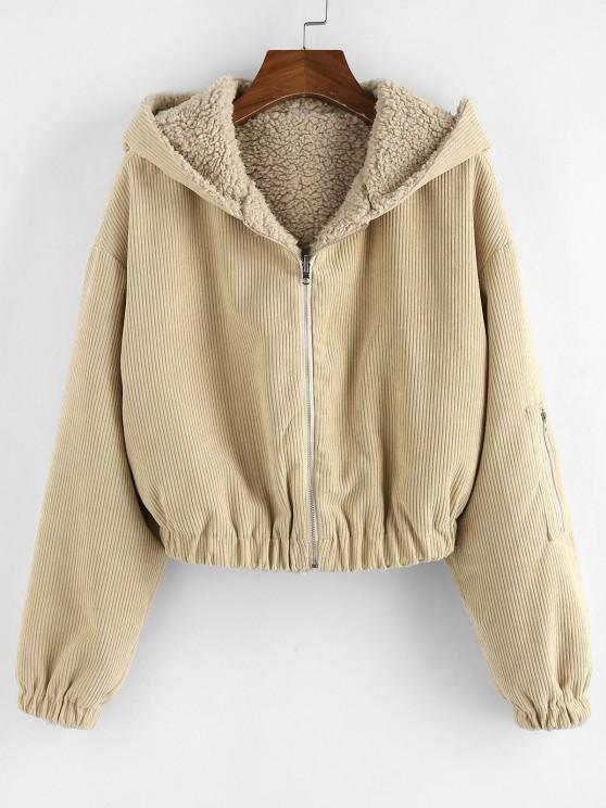 outfit ZAFUL Faux Fur Lined Hooded Corduroy Coat - TAN BROWN S