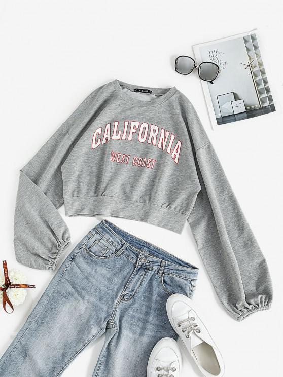 latest Lantern Sleeve CALIFORNIA Graphic Sweatshirt - LIGHT GRAY S