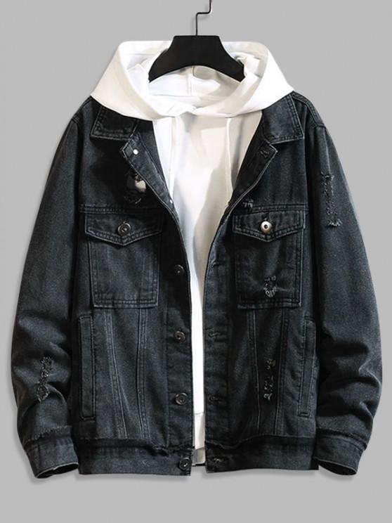 Distressed Broken Hole Button Up Leisure Jean Jacket - أسود 3XL