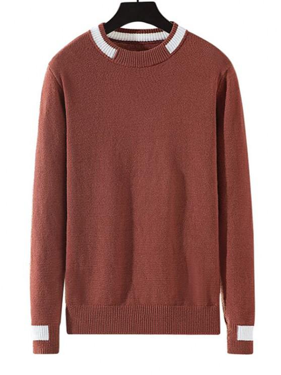 women's Colorblock Stripe Pullover Knit Sweater - CHESTNUT RED M