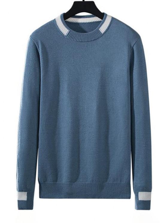 Camisola de Pulôver de Malha Listrada Bloco de Cores - Seda de Azul L