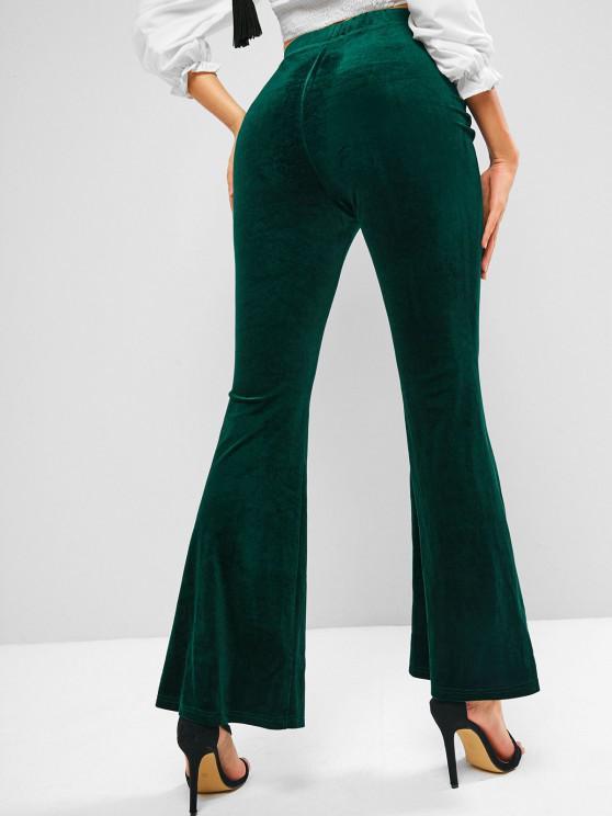 women's ZAFUL High Waisted Velvet Flared Pants - DEEP GREEN S