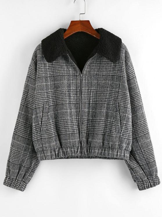 trendy ZAFUL Houndstooth Plaid Teddy Lined Drop Shoulder Jacket - BLACK S