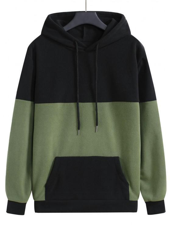 women's Colorblock Fleece Pullover Hoodie - BLACK 2XL