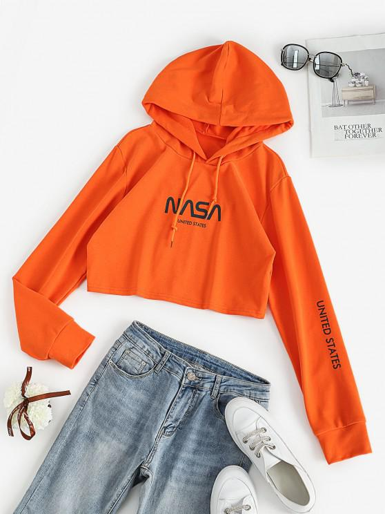 hot French Terry Neon Graphic Crop Pullover Hoodie - ORANGE S