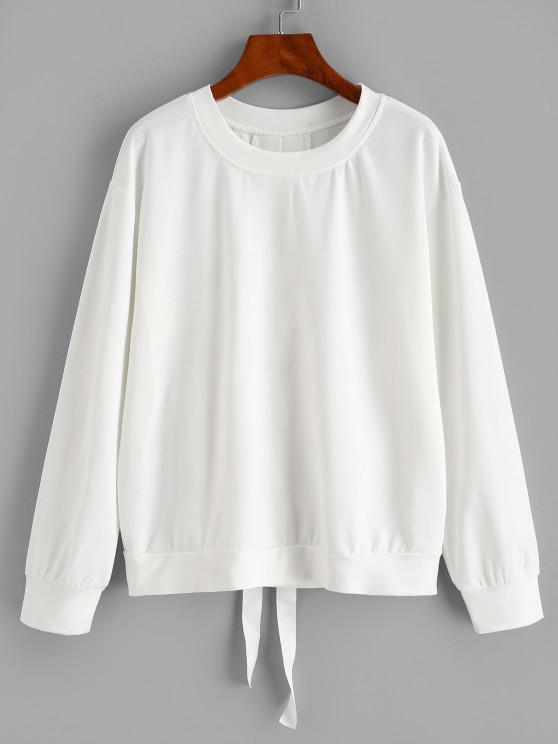 Solid Lace Up Back Sweatshirt - أبيض XL