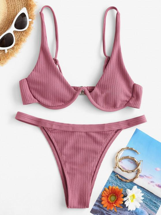 affordable ZAFUL Ribbed Underwire Tanga Bikini Swimwear - LIGHT PINK S
