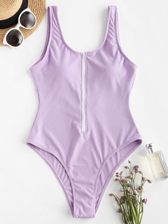 womens ZAFUL Half Zip Ribbed Sporty One-piece Swimsuit - LIGHT PURPLE L