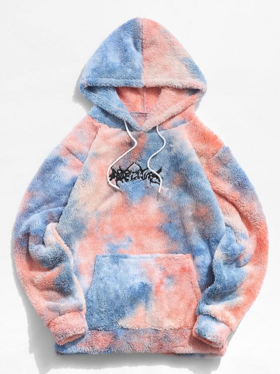 chic Tie Dye Letter Embroidery Fluffy Hoodie - BLUE S