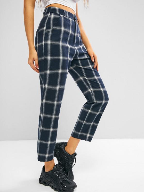 shop ZAFUL Plaid Flannel High Waisted Pocket Pants - DARK SLATE BLUE M