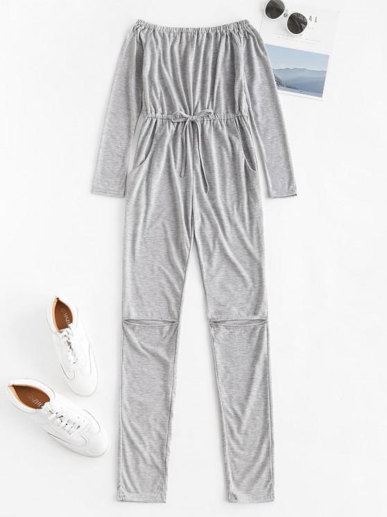 online Off Shoulder Knee Ripped Pocket Lounge Jumpsuit - LIGHT GRAY XL