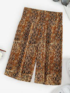 High Waisted Snake Print Short Leggings - Coffee M