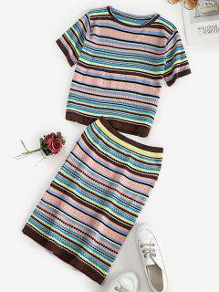Striped Pattern T-shirt And Skirt Knitwear Set - Multi
