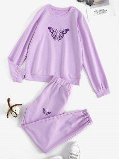 Sweat Butterfly Print Co-ord Pants Set - Light Purple M