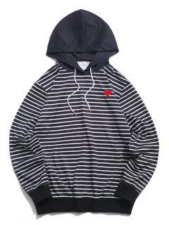 ZAFUL Heart Embroidered Striped Print Pullover Hoodie - Black 2xl