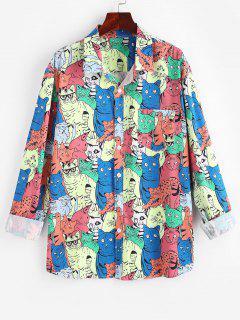 Cartoon Tierblumen Muster Taschen Hemd - Multi Xl