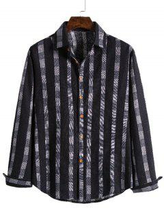Checked Stripe Print Button Up Leisure Shirt - Black M