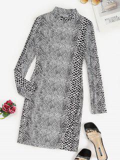 Mock Neck Spot Print Bodycon Dress - Black M