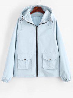 Hooded Zip Up Raglan Sleeve Cargo Jacket - Light Blue M