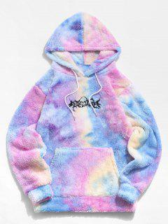 Tie Dye Letter Embroidery Fluffy Hoodie - Light Pink L