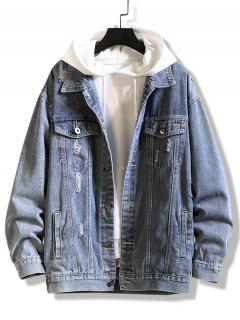 Letter Print Distressed Drop Shoulder Jean Jacket - Silk Blue Xl