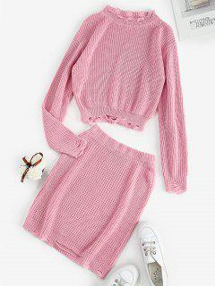 Ripped Knitted Crew Neck Two Piece Dress - Light Pink