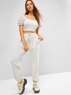 ZAFUL Puff Sleeve Space Dye Smocked Two Piece Sweatpants Set - Platinum M