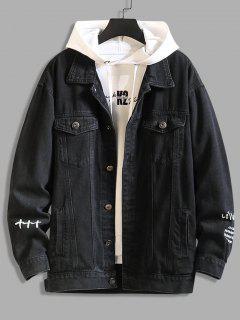 Letter Text Dual Pockets Drop Shoulder Denim Jacket - Black 3xl